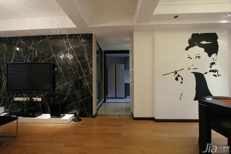 现代简约风格三居室120平米电视背景墙墙贴效果图