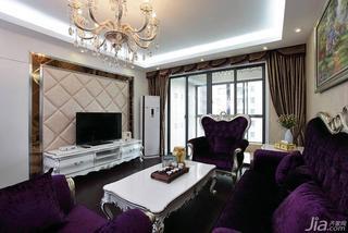 欧式风格二居室紫色100平米客厅电视背景墙设计图纸