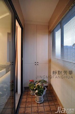 现代简约风格二居室70平米阳台地砖效果图