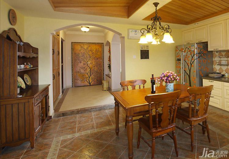 田园风格三居室富裕型130平米餐厅餐边柜图片