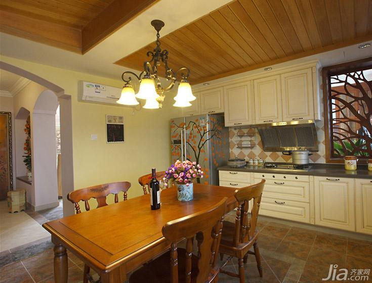 田园风格三居室富裕型130平米餐厅设计图纸