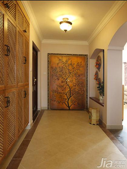 田园风格三居室富裕型130平米门厅手绘墙收纳柜图片