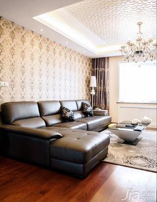 混搭风格三居室豪华型140平米以上客厅真皮沙发效果图