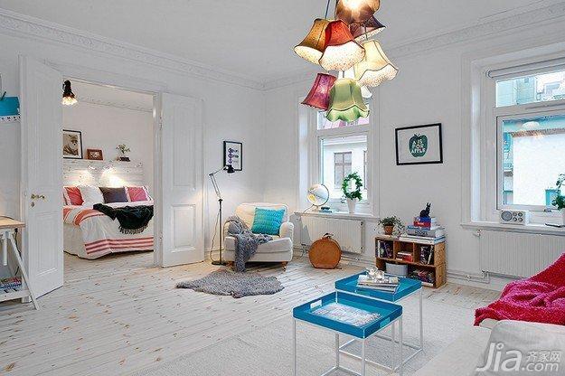 北欧风格公寓白色70平米客厅海外家居