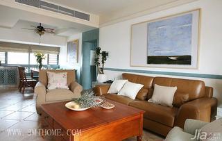 三米设计田园风格三居室客厅沙发背景墙真皮沙发图片