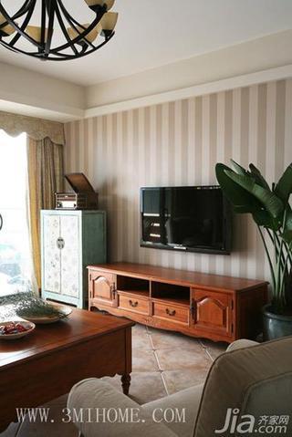 三米设计田园风格三居室电视背景墙壁纸图片