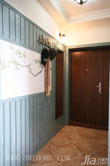 三米设计田园风格三居室门厅过道地砖效果图