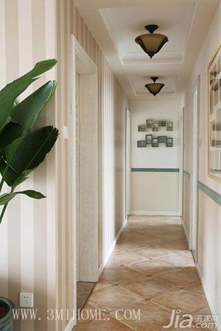 三米设计田园风格三居室过道灯具图片