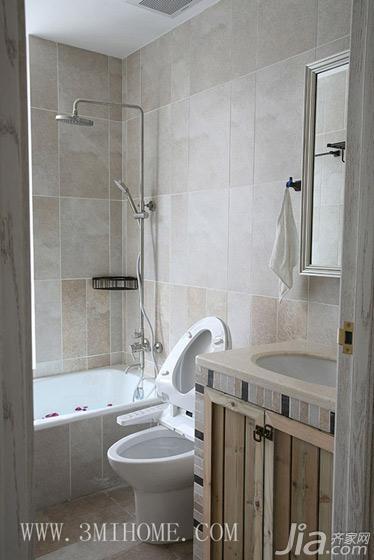 三米设计田园风格三居室卫生间洗手台效果图