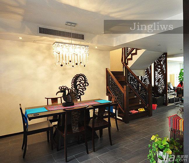 东南亚风格别墅140平米以上餐厅楼梯灯具图片