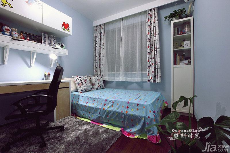 现代简约风格二居室70平米儿童房儿童床效果图
