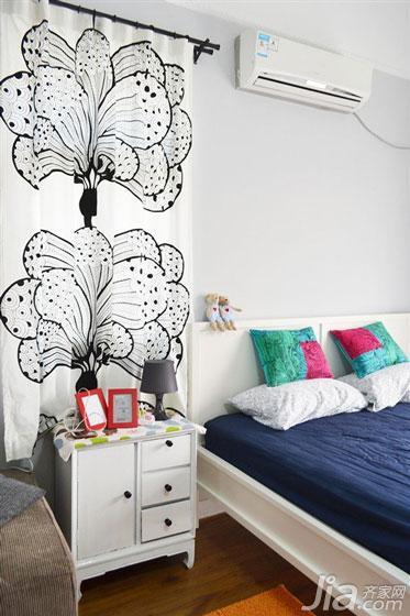 宜家风格一居室3万以下屏风隔断床头柜图片