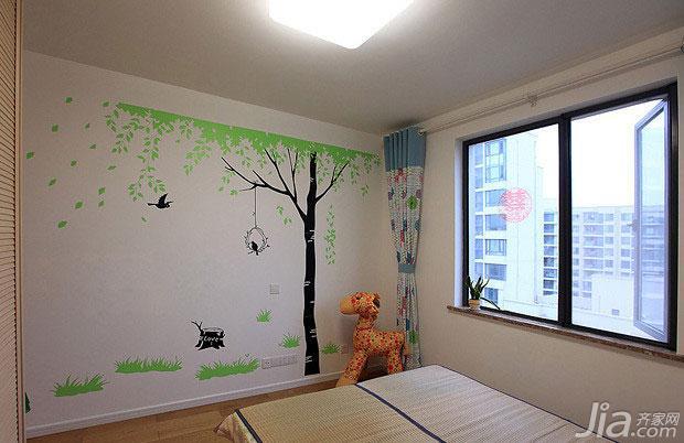 现代简约风格二居室10-15万儿童房墙贴效果图