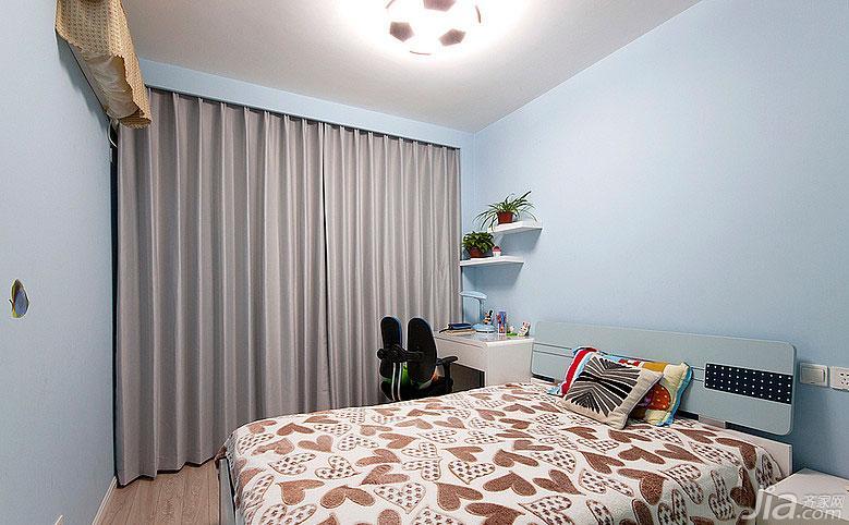 现代简约风格二居室100平米儿童房儿童床效果图