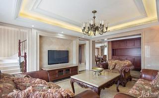 欧式风格跃层20万以上客厅电视背景墙设计