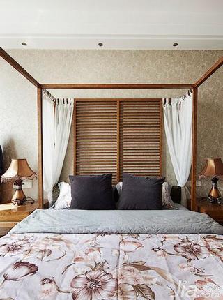 东南亚风格复式140平米以上卧室实木床效果图