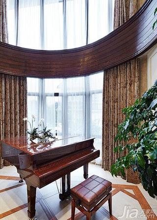美式风格别墅豪华型阳台窗帘图片