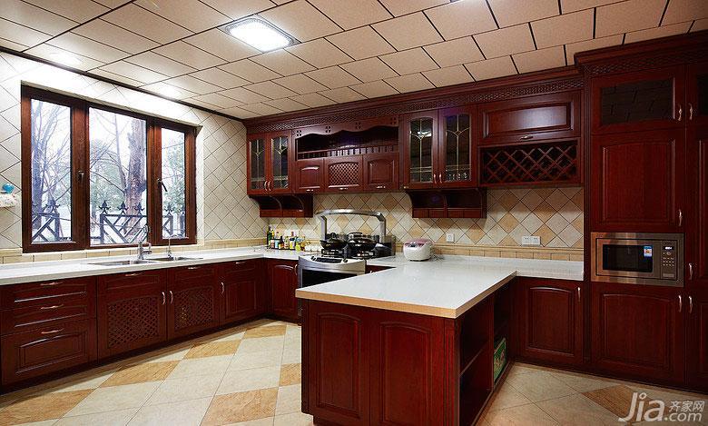 美式风格别墅豪华型开放式厨房厨房吧台设计