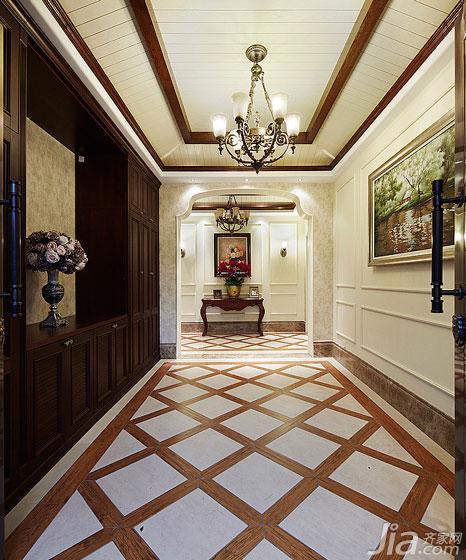 美式风格别墅豪华型玄关过道吊顶效果图图片