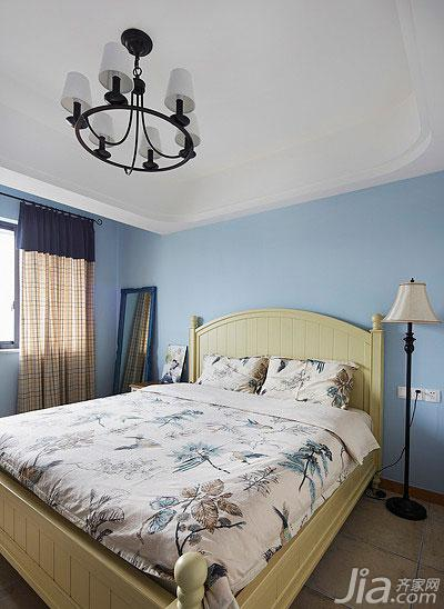 地中海风格二居室110平米卧室实木床效果图