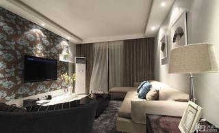 现代简约风格二居室110平米阳台电视背景墙设计图