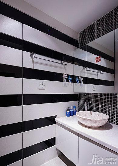 简约风格二居室黑白100平米洗手台图片