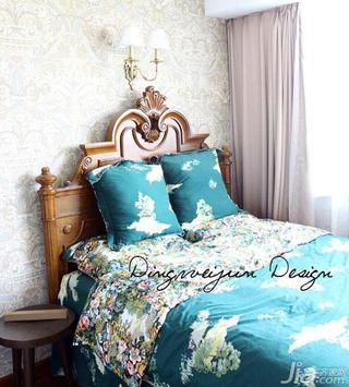 欧式风格二居室20万以上卧室窗帘卧室背景墙实木床效果图