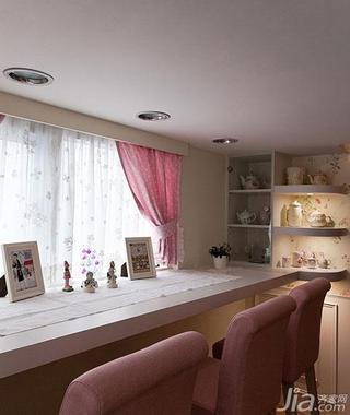 法式风格复式50平米餐厅吧台餐边柜效果图