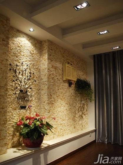 简约风格三居室130平米空中花园背景墙设计图纸