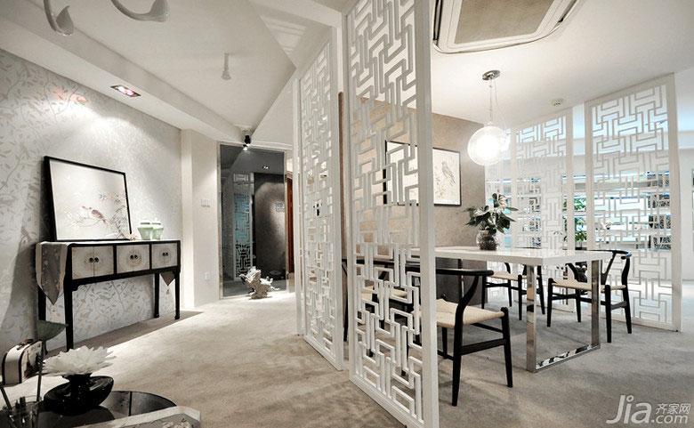 新中式风格富裕型140平米以上餐厅隔断背景墙装修效果图