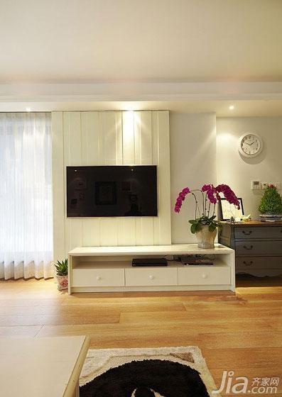 美式风格富裕型140平米以上电视背景墙电视柜图片