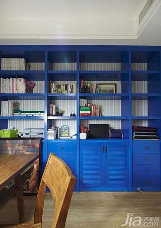 美式风格蓝色富裕型140平米以上书柜效果图