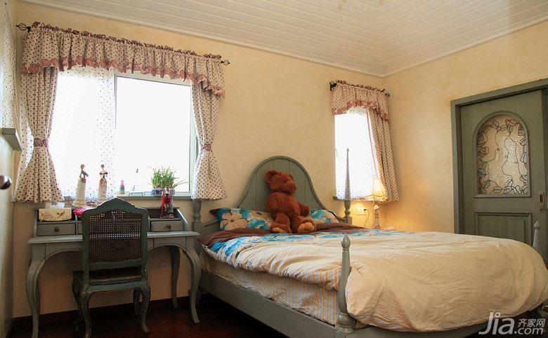 美式乡村风格别墅140平米以上卧室实木床图片