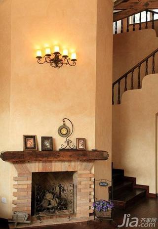 美式乡村风格别墅140平米以上楼梯壁炉效果图