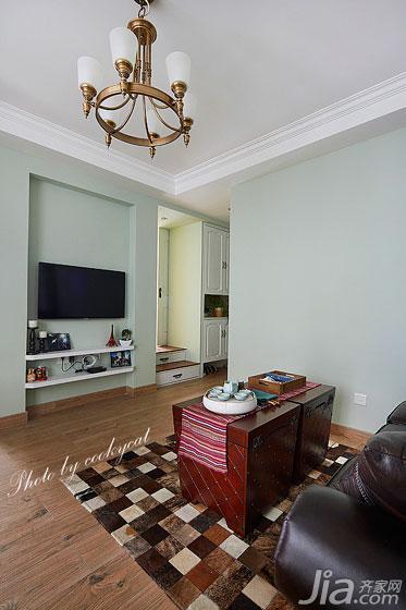 美式风格小户型60平米电视背景墙灯具图片