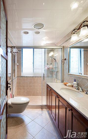美式风格三居室20万以上卫生间淋浴房安装图高清图片