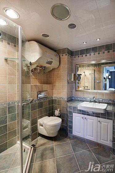 美式风格三居室20万以上卫生间吊顶淋浴房设计图纸高清图片