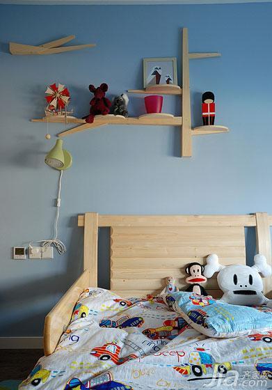 现代简约风格二居室蓝色90平米儿童房装修图片