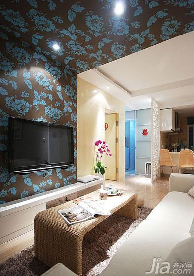 现代简约风格二居室70平米电视背景墙茶几图片