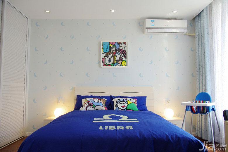 现代简约风格三居室蓝色130平米儿童房卧室背景墙设计图