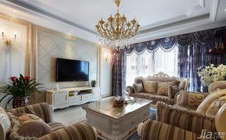 欧式风格四房140平米以上电视背景墙灯具效果图