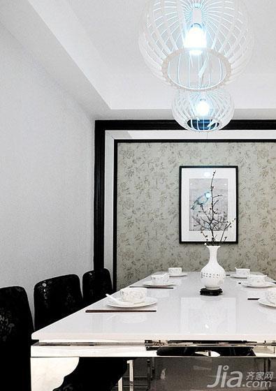新中式风格三居室富裕型餐厅背景墙餐桌效果图