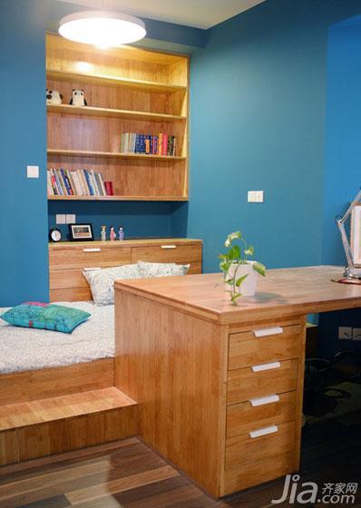 宜家风格二居室蓝色90平米工作区地台设计图