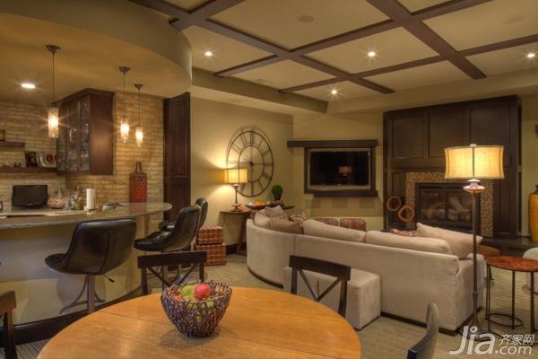 118平沉稳美式家 地下室的开放式设计图片