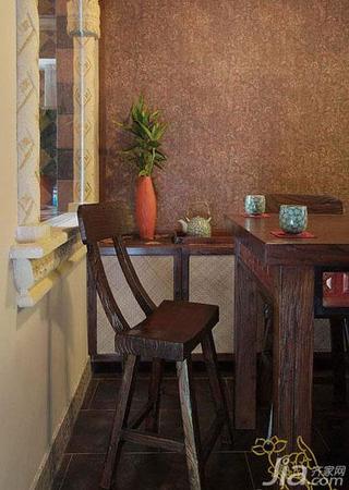 东南亚风格一居室60平米餐厅餐厅背景墙椅子效果图
