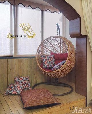 东南亚风格一居室60平米阳台地台设计图纸