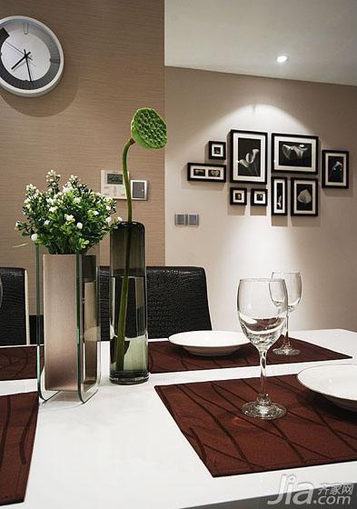 现代简约风格二居室唯美100平米照片墙餐桌图片