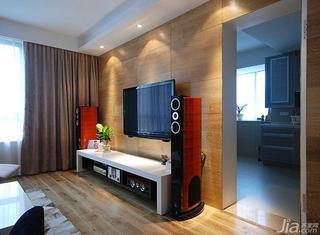 现代简约风格三居室原木色100平米电视背景墙隐形门图片