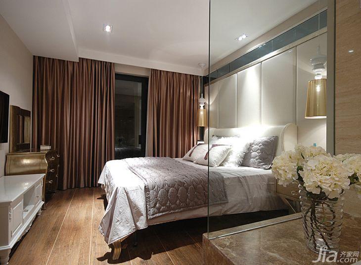 新古典风格三居室110平米卧室软包背景墙窗帘图片
