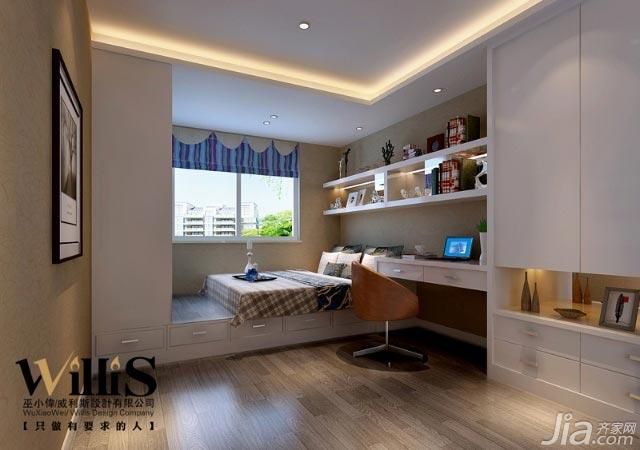 巫小伟现代简约风格三室一厅90平米儿童房婚房设计图纸